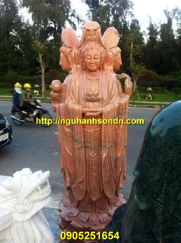 Tượng Phật Quan Âm tứ diện đá nguyên khối