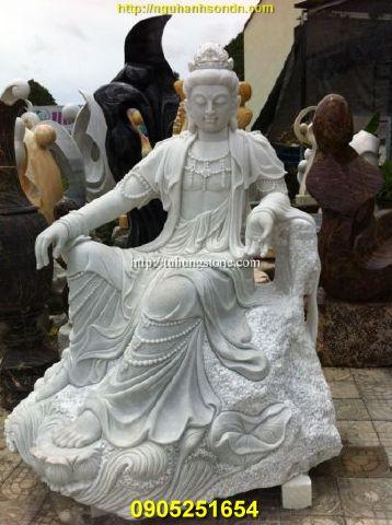 Tượng Phật Quan Âm  tự tại đá cẩm thạch