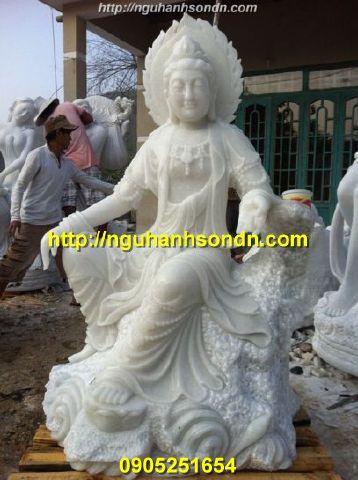 Tượng Phật Quan Âm tự tại đá cẩm thạch trắng