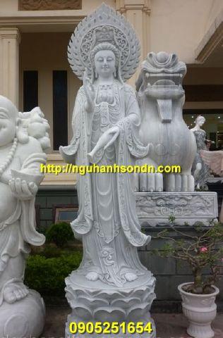 Tượng Phật Quan Âm đứng đài sen đá nguyên khối