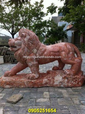 Tượng sư tử bằng đá cẩm thạch nguyên khối